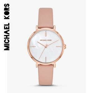 ☀️NWT☀️MICHAEL KORS Jaryn Rose Gold Leather Watch